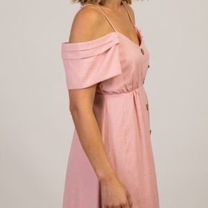 PinkBlush Open Shoulder Maternity Dress